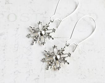Small Silver Plated Snowflake Winter Dangle Earrings
