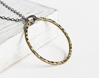 Gold Circle Necklace, Antiqued Gold Plated Pendant on Gunmetal Black Chain, Large Circle Pendant, Layering Necklace, Modern Jewelry