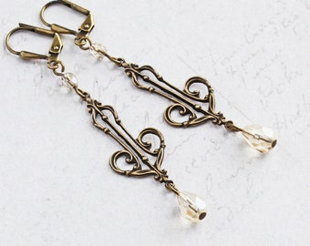 Antiqued Brass Filigree Dangle Earrings with Champagne Teardrop Beads (Leverback or Fishhook)