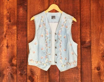 80s Floral Light Denim Vest