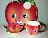 Vintage 50s 60s PY Miyao Anthropomorphic Apple Head Snack Plate Tea Cup Mug Tea Bag Holder Japan 1950s 1960s Retro Kitchen Kitsch Decor