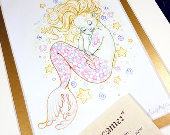 The Little Dreamer - Mermay 2017 Limited Run Double Matted Giclee Print with Story Scroll