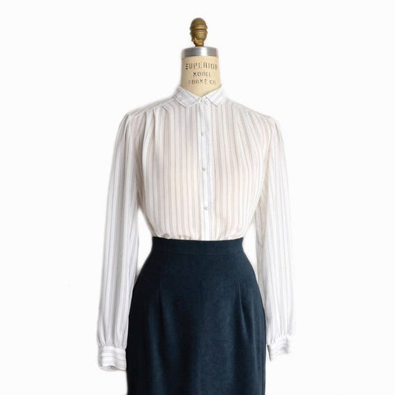Vintage Sheer White Striped Blouse / Button Front White Blouse - women's medium