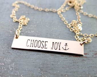 CHOOSE JOY Inspirational Bar Necklace with Anchor. Simple Layering Necklace. 14k Gold-Filled, Rose Gold-Filled, Sterling Silver.