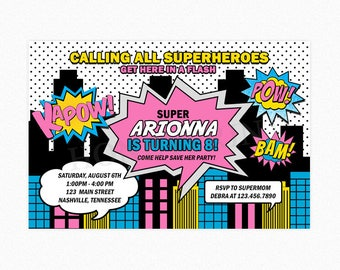 Superhero Birthday Party Invitation, Superhero Invitation Girl, Calling all Superheroes Invitation, Printable or Printed