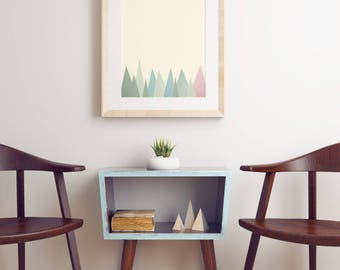 Mountain Print, Geometric Art, Minimalist Landscape Print in Pastel Colours - Snowy Mountains