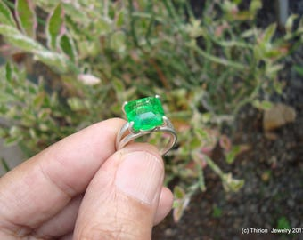 emerald ring solitaire ring colombian emerald