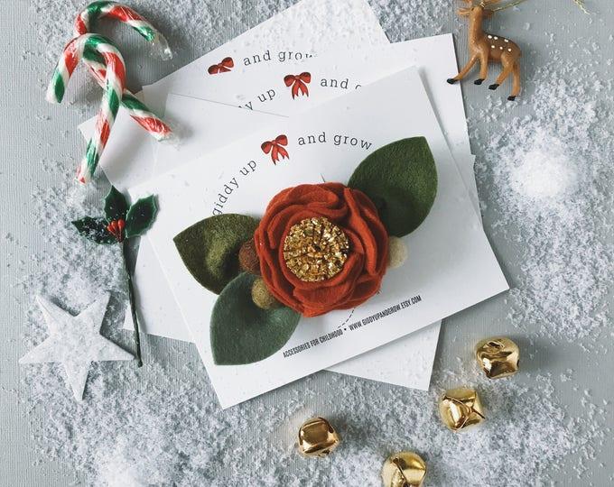 Featured listing image: Single Flower Headband or Alligator Clip // Sleigh Bells, Christmas Felt Flower