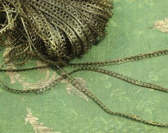 1 yard tiny picot metal cord antique flapper ribbonwork metal gold trim soutache braid cording trim ribbon