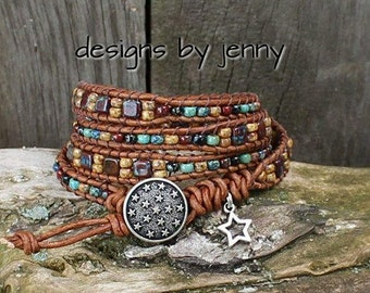 Beaded Leather Wrap, Leather Wrap Bracelet For Women , Beaded Wrap Bracelet, Leather Wrap Bracelet, Womens Leather Bracelet, Mens Bracelet