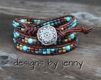 Leather Wrap Bracelet For Women , Seed Bead Leather Wrap Bracelet, Leather Wrap Bracelet, Womens Leather Bracelet, Mens Leather Bracelet