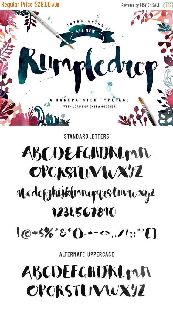 Digital Fonts 80% Off SALE Rumpledrop brush script Typeface - Handpainted - Plus BONUS Watercolor Textures, Glitter, Foil, illustrations