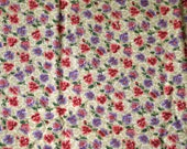 1/3 YARD, Tan Pink Purple Floral Print, Quilting Cotton or Craft Fabric, VIP Cranston, Pansies, Flowers Leaves, B12
