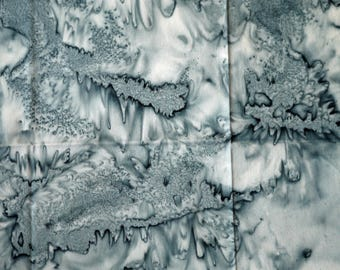 1/4 YARD, Gray Water Stain Batik Print, Quilting Cotton or Craft Fabric, Acid Wash Design, 21 x 17, B44