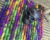 Fright Night DE x10 Crochet Synthetic Dreads - black orange purple green Halloween