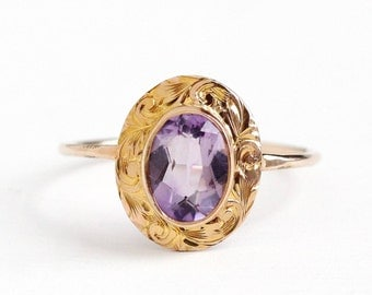 Antique 10k Yellow Rose Gold .92 CT Amethyst Ring - Vintage Size 7 1/2 Edwardian Early 1900s Purple Gemstone Fine Pin Conversion Jewelry
