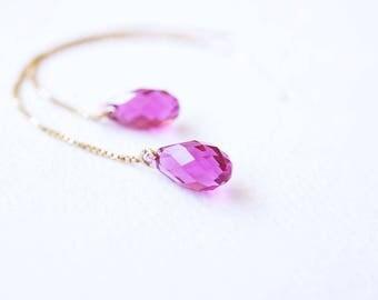 Earrings, Threader Earrings, Gold Earrings, Pink Earrings, Crystal Earrings, Swarovski Earrings, Long Earrings, Fuchsia Earrings, Gift