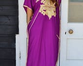 10 OFF Summer SALE  Winter GiftsTrendy Clothing  Royal Purple with Gold Marrakech Resort Caftan Kaftan loungewear dresses birthdays