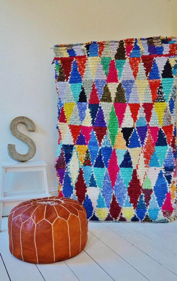 FREE SHIPPING>> Vintage Moroccan Boucherouite  Rug,  Beni Ouirain Rug,Moroccan Rug,Hand Woven Rug, Bohemian Rugs, Xmas Gifts, 5.9 x 3.6 ft.