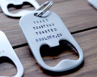 Stamped Bachelor & Bachelorette Party Keychain Bottle Opener, Hand Stamped Bottle Opener,Groomsman Gift,Bridesmaid Gift,Custom Bottle Opener