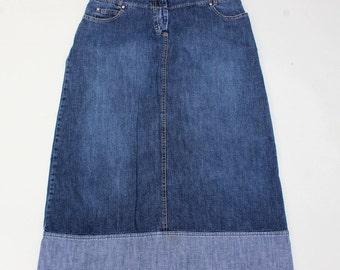 Vintage Blue Denim PROMOD Calf Length A-line Ladies Women's Skirt Size UK 12