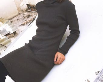 Vintage ribbed wool dress