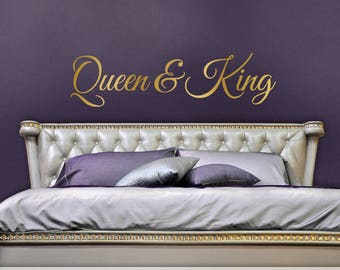 Queen and King Decor, His and Hers Bedroom Vinyl Wall Decal, Wedding Gift for Couple, Headboard Decal, Removable Vinyl Decal (01711bN)