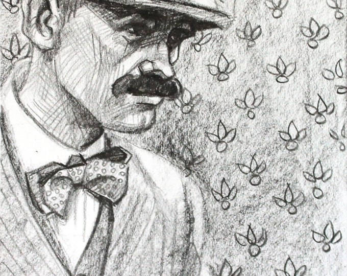 Peaky Blinder, crayon on Rives BFK paper 9x12 inches by Kenney Mencher