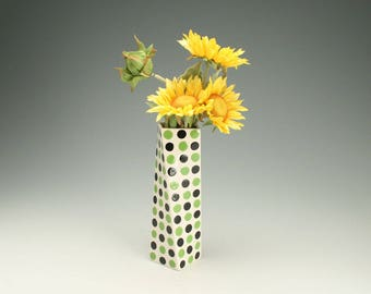Polka Dot Ceramic Flower Vase, Black and Apple Green Tall Pottery Vase, Lime Green Polka Dot Ceramics, Twisted Vase, Office Desk Accessories