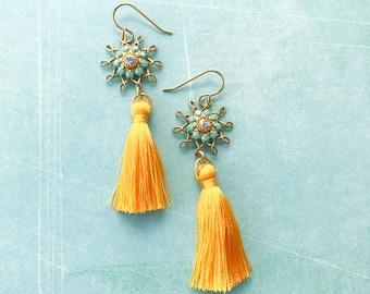 Vintage Aqua Blue Rhinestones Bright Saffron Yellow Silk Tassels Dangle Earrings Boho Chic Bohemian Gypsy Repurposed Sunny Yellow Brass