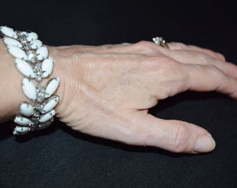 "Vintage MARVELLA White Clear Rhinestone Wide Chunky Bracelet - 1"" Wide 7.5"" Long"