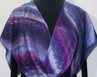 Purple Hand Painted Silk Scarf. Lavender Violet Handmade Silk Shawl SUMMER RAIN, in 3 SIZES. Hand Dyed. Birthday Gift, Christmas Gift