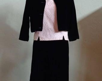 "Vintage 60's 2 Piece Black Velvet Skirt Suit & Joanna Beige Lace Sleeveless Blouse with Back Button Closure Bust 38"" Waist 28"""