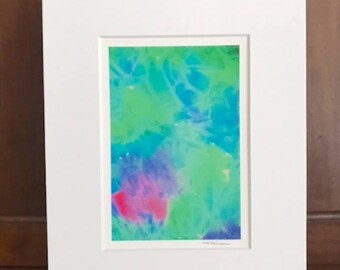Sea Glass watercolor giclee print, already matted to standard size 5x7, beach cottage home decor, seashore art