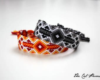 Friendship bracelet - Boho macramé bangle, glow effect geometric design - City Lights pattern