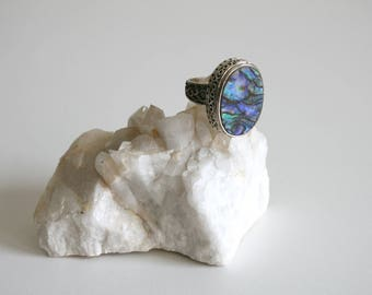 Sterling Abalone Ring 6.5