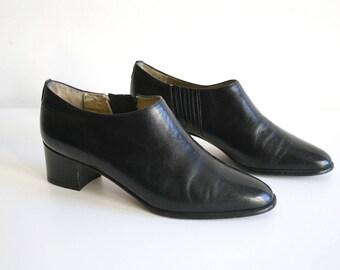 Italian Black Leather Shoe Boots 5.5
