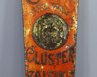 Vintage Cresca Raisin Tin, Early 1900's, Antique Malaga Cluster Raisins Fine Food, Red, Advertising