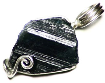 Black Tourmaline Necklace Silver, Raw Tourmaline Crystal Pendant, Wire Wrapped Schorl Jewelry (13.5 ct) Sterling Silver Tourmaline Pendant