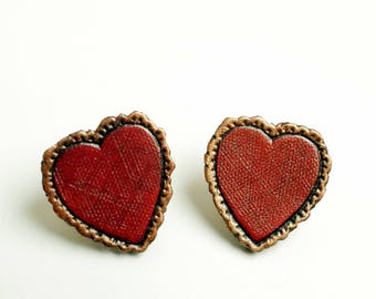 Leather Heart Collar Pin Brooch Piece - Ready to ship!