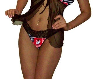 Georgia Bulldogs Lace Babydoll Negligee Lingerie Teddy Set - XS Extra Small to L Large - Please READ SIZING Info - Also in White