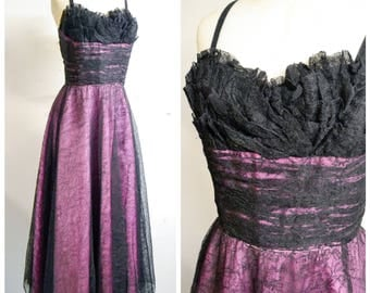 1950s Black & purple lace crumb catcher bust evening dress / 40s 50s full length frilly shelf bust gown - L