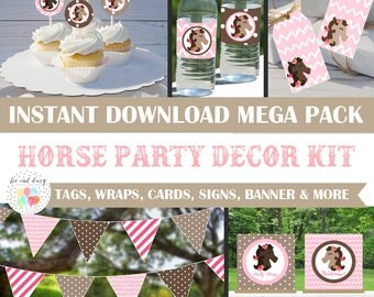 Horse Party Decorations - Huge INSTANT DOWNLOAD Set, Horse Birthday Party, Horse Baby Shower, Horse banner, favor tags, wraps, toppers,