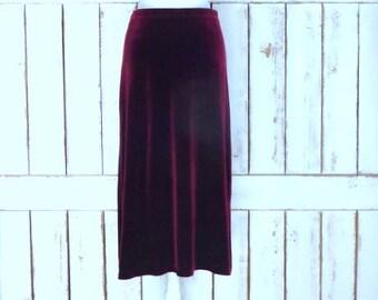 90s vintage dark red/burgundy velour velvet stretch maxi skirt/maroon long velvet stretch skirt/large