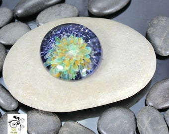Earth Garden Cabochon - Lampwork Glass - Jewelry Making Supply - 24mm