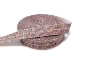 """Rainbow Metallic Thread Fold Over Elastic - 5/8"""" FOE - Elastic for Hair ties and headbands - Decorative Elastic - Unicorn Headbands -5 yards"""