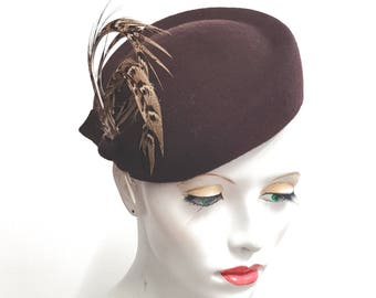 Dark Chocolate brown cocktail hat percher pheasant feathers hat vintage styling with pheasant feathers elastic fixing wedding races