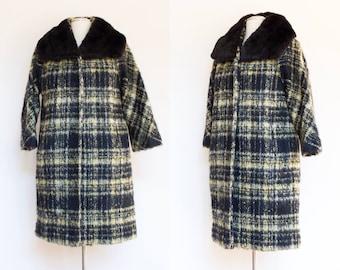 vintage 1960s Lilli Ann plaid mohair coat   60s designer wool cocoon coat with mink collar   S - L