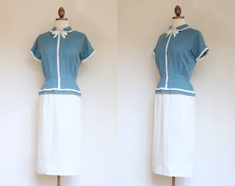 vintage 1950s blue and white peplum dress   50s Harmay tailored linen blue and white afternoon dress   S