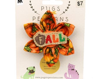 Autumn Dog Bow - Acorn Fall on Pumpkins - Flower - Collar Blossom - Medium Size